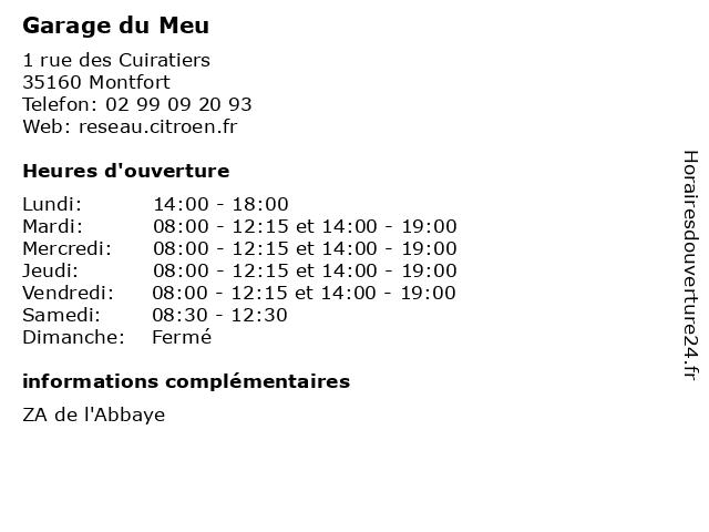Garage du Meu à Montfort: adresse et heures d'ouverture