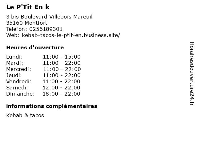 Le P'Tit En k à Montfort: adresse et heures d'ouverture