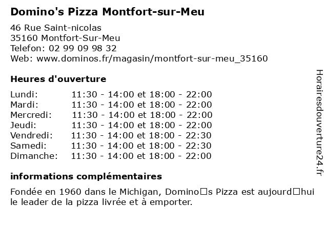 Domino's Pizza Montfort-sur-Meu à Montfort-Sur-Meu: adresse et heures d'ouverture
