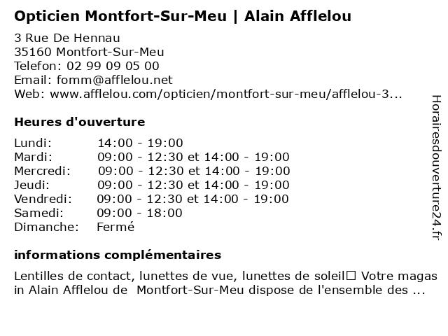 Opticien Alain Afflelou à Montfort-Sur-Meu: adresse et heures d'ouverture