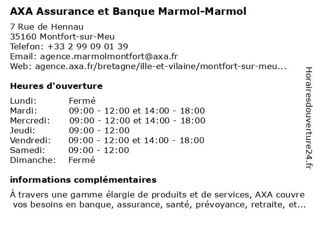 AXA Assurance MARMOL-MARMOL à Montfort-sur-Meu: adresse et heures d'ouverture