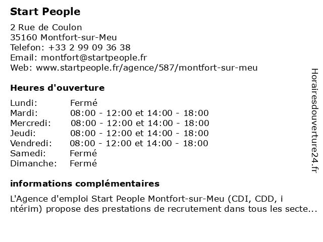Agence d'emploi Start People Montfort-sur-Meu à Montfort-sur-Meu: adresse et heures d'ouverture