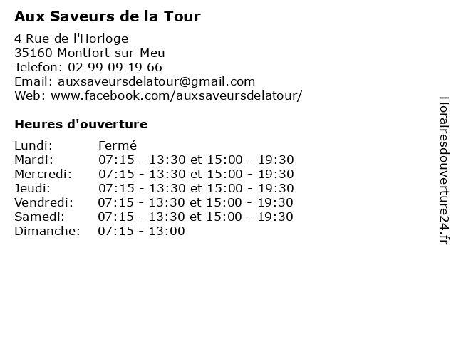 Aux Saveurs de la Tour à Montfort-sur-Meu: adresse et heures d'ouverture