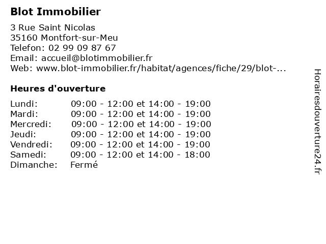Blot Immobilier à Montfort-sur-Meu: adresse et heures d'ouverture