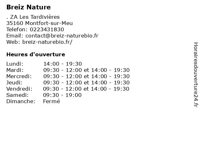 Breiz Nature à Montfort-sur-Meu: adresse et heures d'ouverture