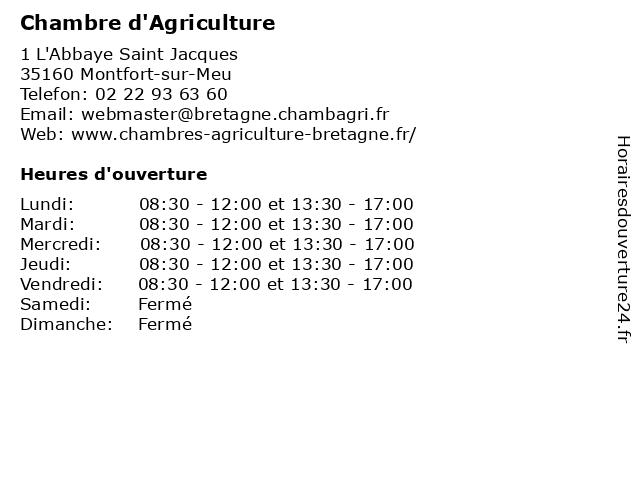 Chambre d'Agriculture à Montfort-sur-Meu: adresse et heures d'ouverture