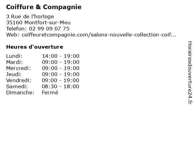Coiffure & Compagnie à Montfort-sur-Meu: adresse et heures d'ouverture