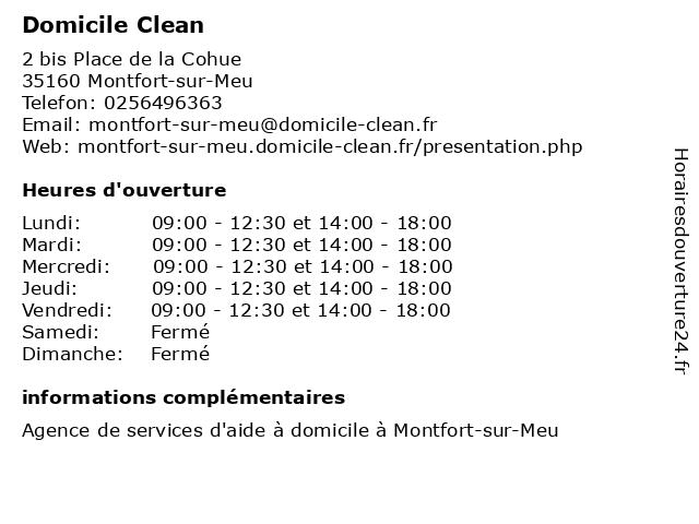 Domicile Clean à Montfort-sur-Meu: adresse et heures d'ouverture