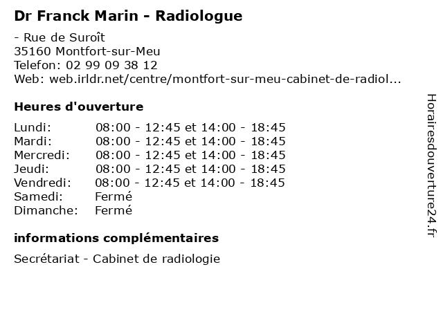 Dr Franck Marin - Radiologue à Montfort-sur-Meu: adresse et heures d'ouverture