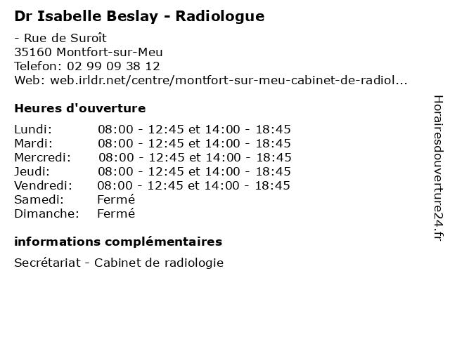 Dr Isabelle Beslay - Radiologue à Montfort-sur-Meu: adresse et heures d'ouverture