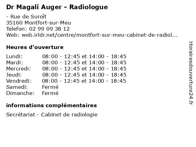 Dr Magali Auger - Radiologue à Montfort-sur-Meu: adresse et heures d'ouverture