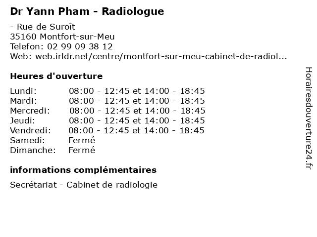Dr Yann Pham - Radiologue à Montfort-sur-Meu: adresse et heures d'ouverture