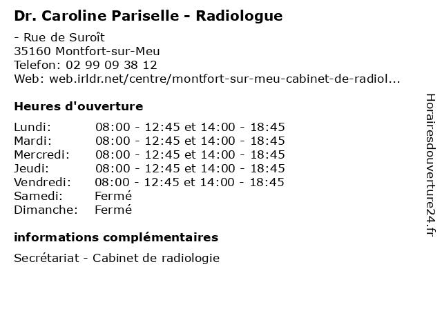 Dr. Caroline Pariselle - Radiologue à Montfort-sur-Meu: adresse et heures d'ouverture