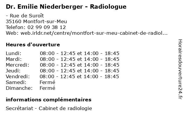 Dr. Emilie Niederberger - Radiologue à Montfort-sur-Meu: adresse et heures d'ouverture