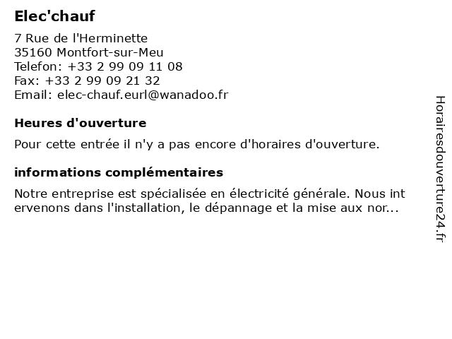 Elec'chauf à Montfort-sur-Meu: adresse et heures d'ouverture