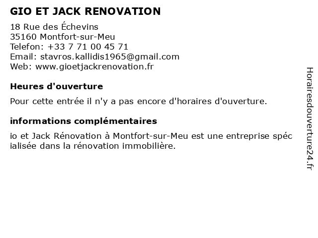 GIO ET JACK RENOVATION à Montfort-sur-Meu: adresse et heures d'ouverture