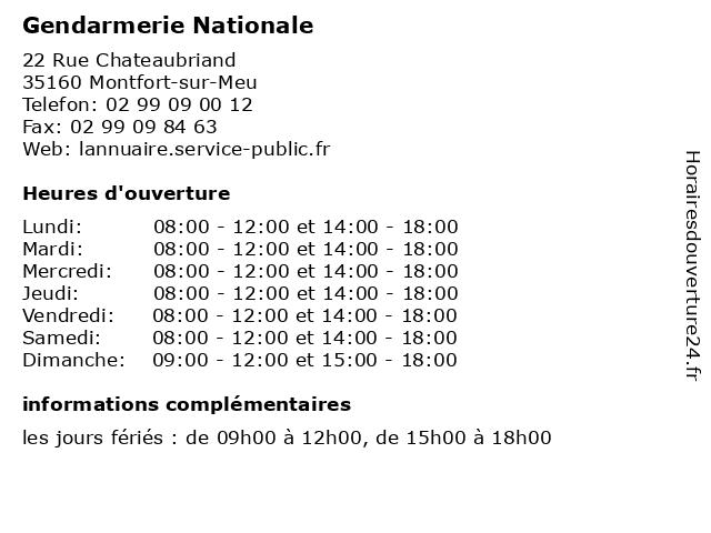 Gendarmerie Nationale à Montfort-sur-Meu: adresse et heures d'ouverture