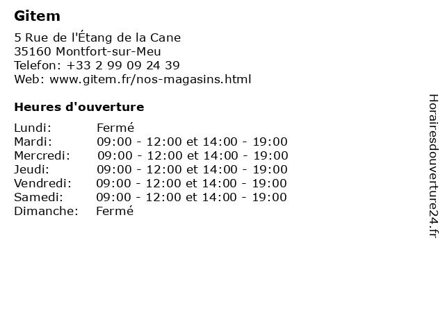 Gitem à Montfort-sur-Meu: adresse et heures d'ouverture