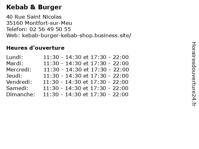 Kebab & Burger à Montfort-sur-Meu: adresse et heures d'ouverture