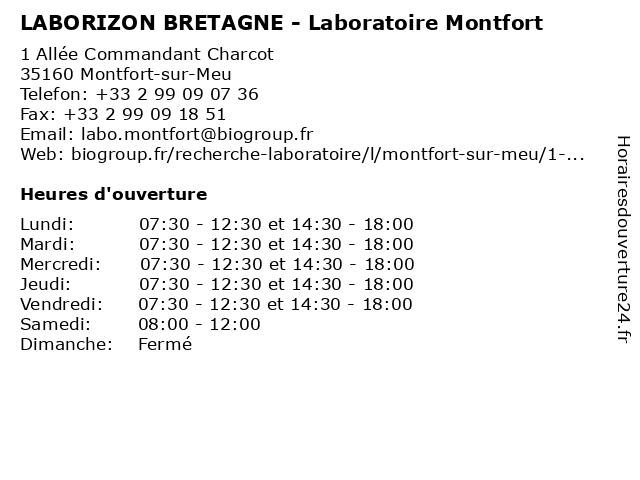 LABORIZON BRETAGNE - Laboratoire Montfort à Montfort-sur-Meu: adresse et heures d'ouverture