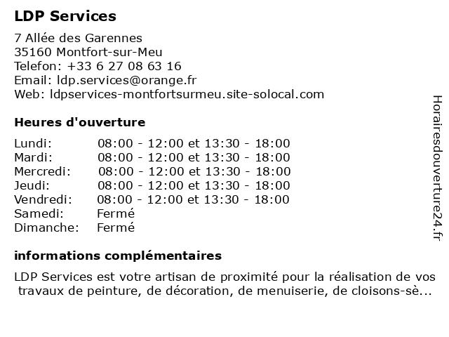LDP Services à Montfort-sur-Meu: adresse et heures d'ouverture