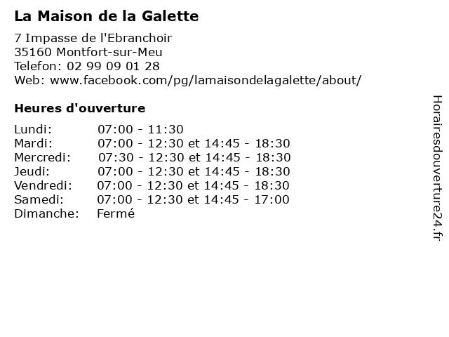 La Maison de la Galette à Montfort-sur-Meu: adresse et heures d'ouverture