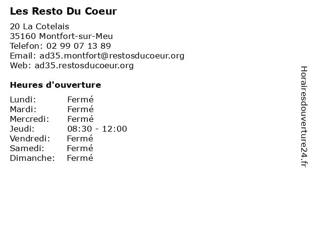 Les Resto Du Coeur à Montfort-sur-Meu: adresse et heures d'ouverture