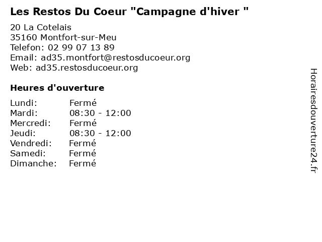 """Les Restos Du Coeur """"Campagne d'hiver """" à Montfort-sur-Meu: adresse et heures d'ouverture"""
