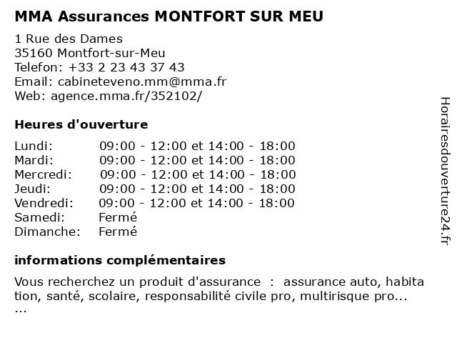 MMA ASSURANCES MONTFORT SUR MEU à Montfort-sur-Meu: adresse et heures d'ouverture