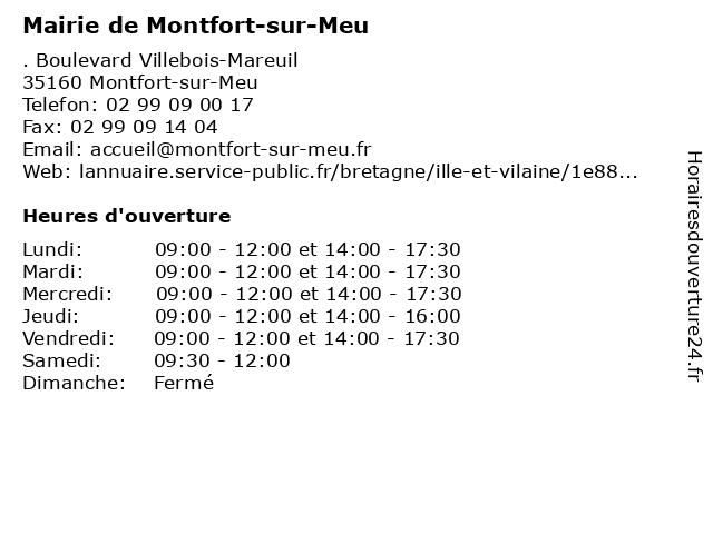 Mairie de Montfort-sur-Meu à Montfort-sur-Meu: adresse et heures d'ouverture