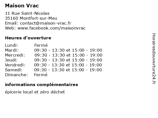 Maison Vrac à Montfort-sur-Meu: adresse et heures d'ouverture