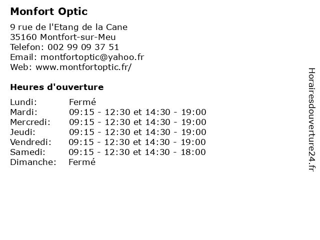 Monfort Optic à Montfort-sur-Meu: adresse et heures d'ouverture