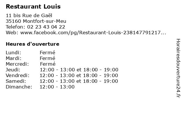 Restaurant Louis à Montfort-sur-Meu: adresse et heures d'ouverture