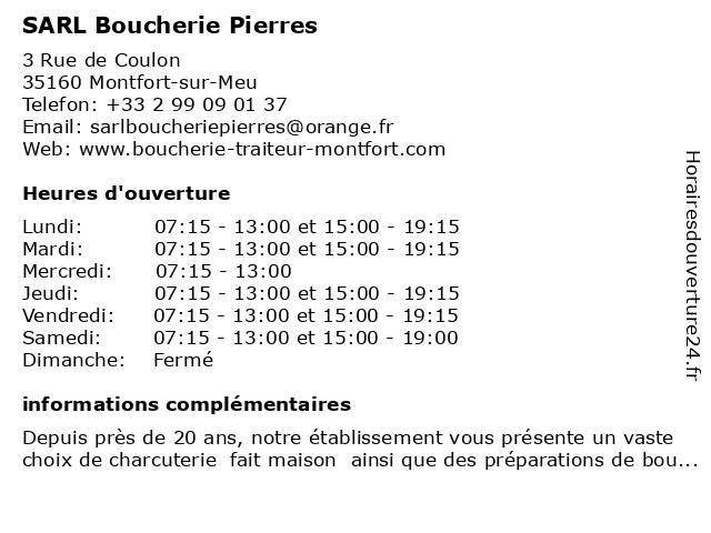 SARL Boucherie Pierres à Montfort-sur-Meu: adresse et heures d'ouverture