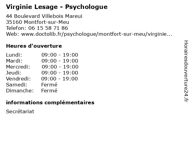 Virginie Lesage - Psychologue à Montfort-sur-Meu: adresse et heures d'ouverture