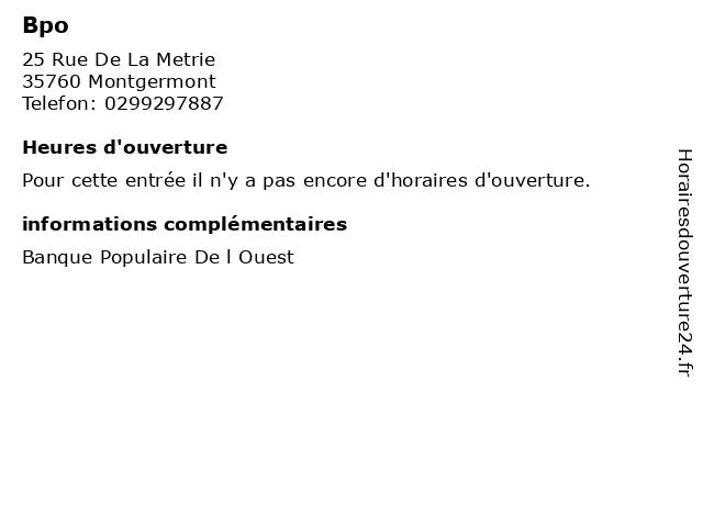 Bpo à Montgermont: adresse et heures d'ouverture