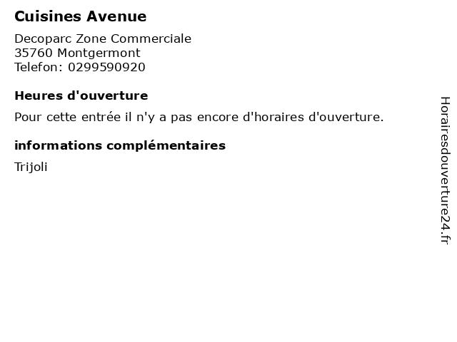 Cuisines Avenue à Montgermont: adresse et heures d'ouverture