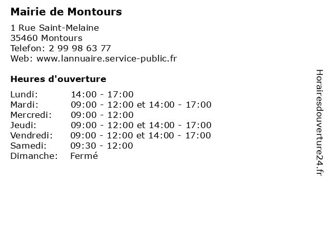 Mairie de Montours à Montours: adresse et heures d'ouverture