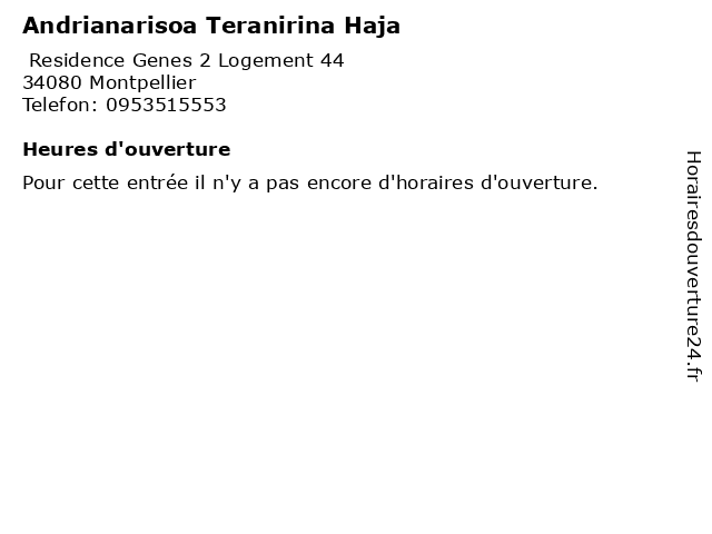 Andrianarisoa Teranirina Haja à Montpellier: adresse et heures d'ouverture