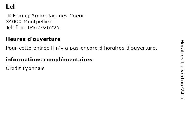 Lcl à Montpellier: adresse et heures d'ouverture