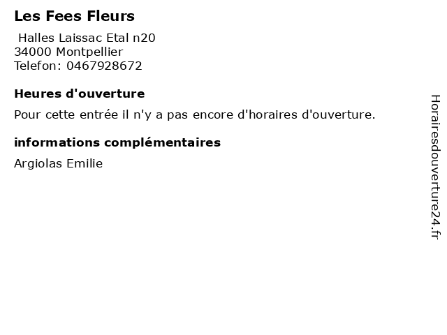 Les Fees Fleurs à Montpellier: adresse et heures d'ouverture