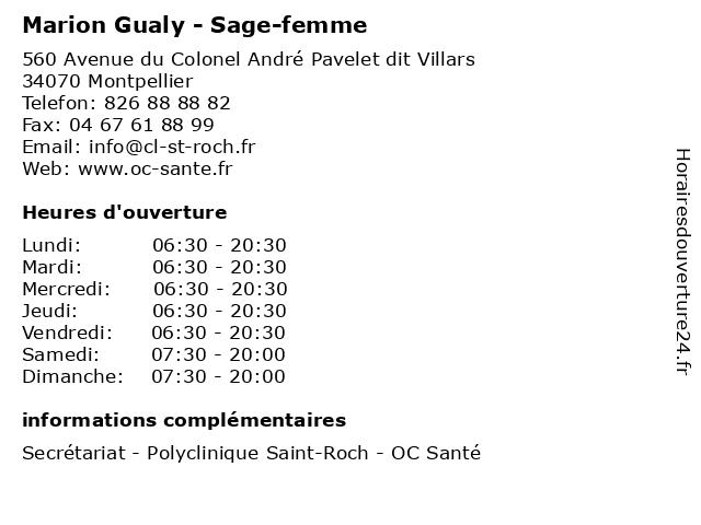 Marion Gualy - Sage-femme à Montpellier: adresse et heures d'ouverture