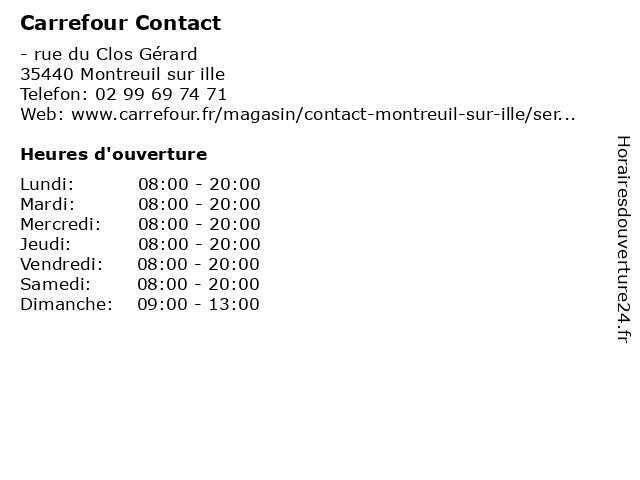 Carrefour Contact à Montreuil sur ille: adresse et heures d'ouverture