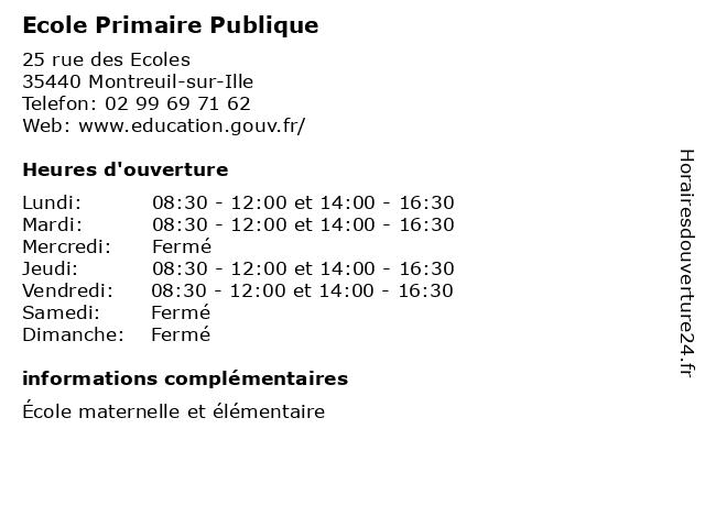 Ecole Primaire Publique à Montreuil-sur-Ille: adresse et heures d'ouverture