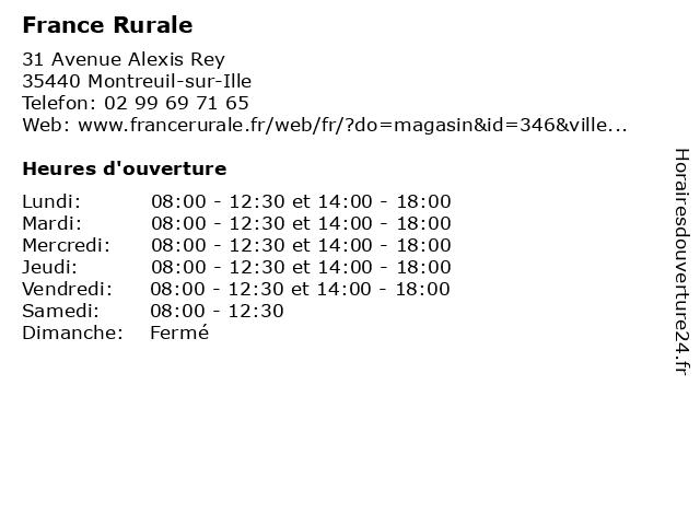 France Rurale à Montreuil-sur-Ille: adresse et heures d'ouverture