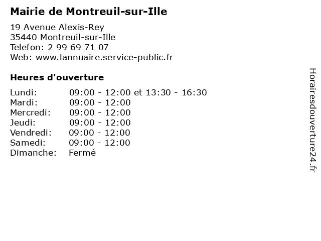 Mairie de Montreuil-sur-Ille à Montreuil-sur-Ille: adresse et heures d'ouverture