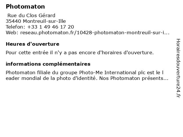 Photomaton à Montreuil-sur-Ille: adresse et heures d'ouverture