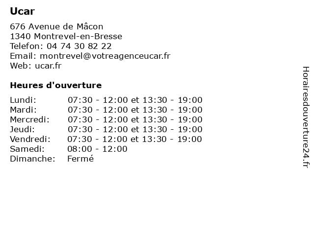 Ucar à Montrevel-en-Bresse: adresse et heures d'ouverture