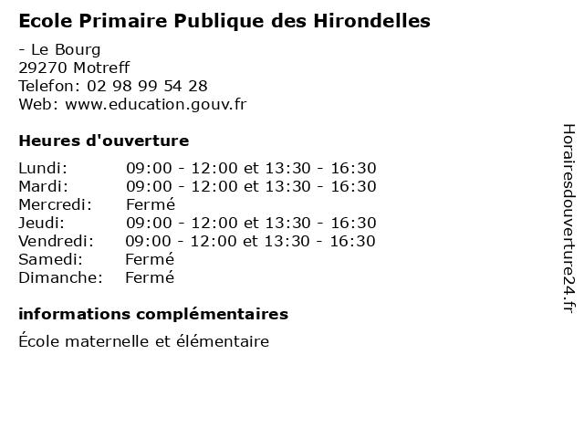 Ecole Primaire Publique des Hirondelles à Motreff: adresse et heures d'ouverture