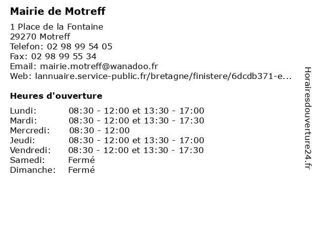 Mairie de Motreff à Motreff: adresse et heures d'ouverture